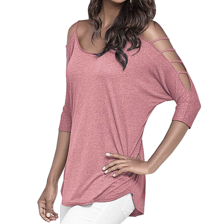 SUNNOW® Mode Damen T-Shirt Casual Trägerlos Rundhals Ausschnitt 3/4 Ärmel Locker Frauen Bluse Tops Sommer