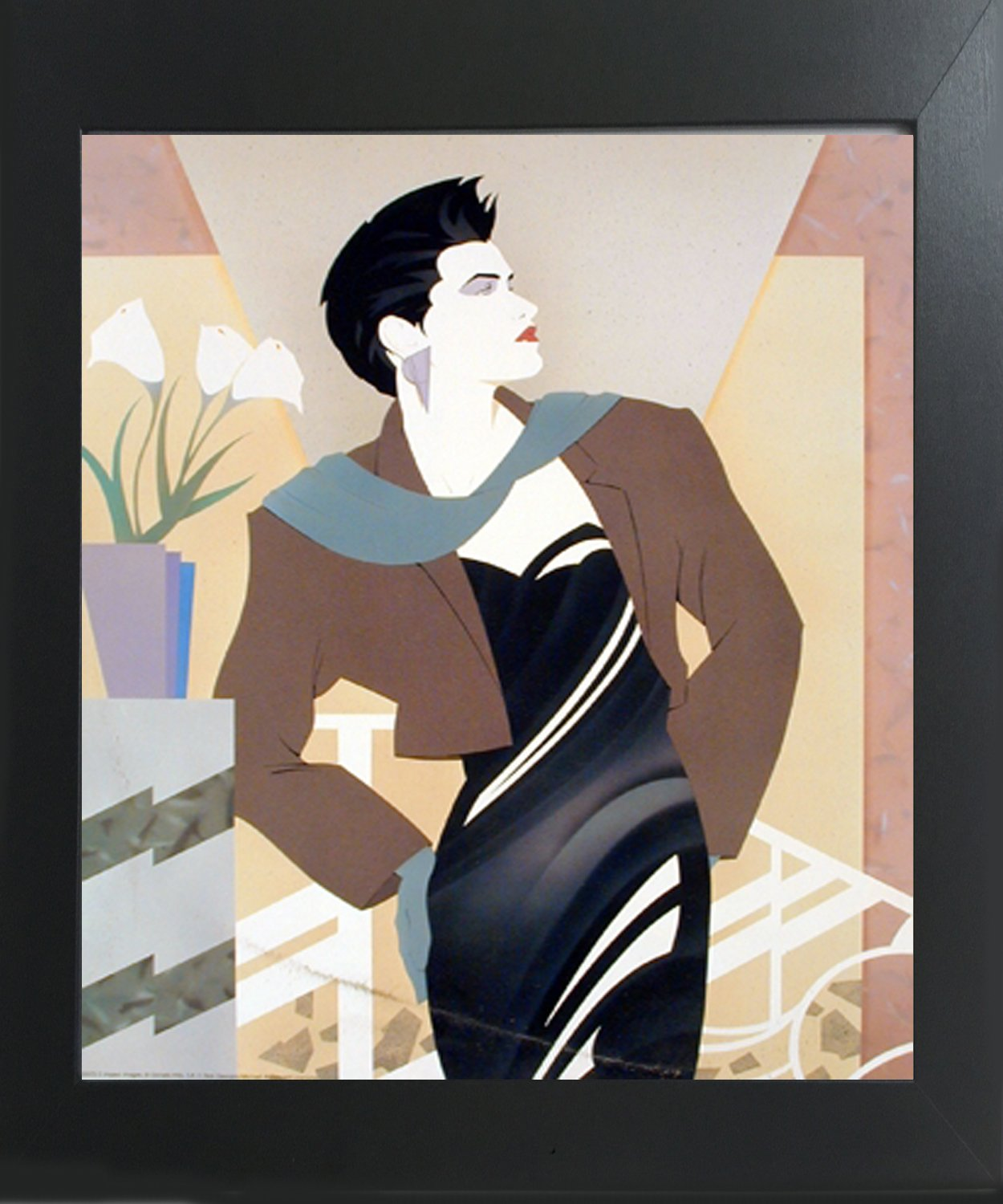 Impact Posters Gallery Vogue Fashion Lady with Cala Lilies Flower Wall Decor Contemporary Black Framed Picture Art Print by Impact Posters Gallery