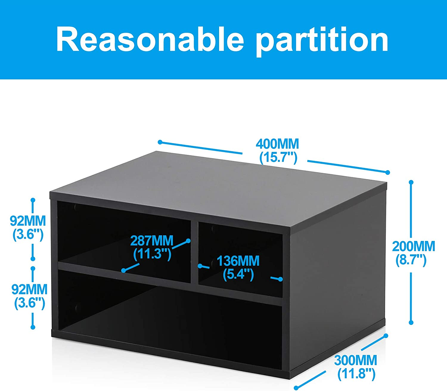 FITUEYES Wood Printer Stands with Storage, Workspace Desk Organizers for Home & Office, Black, DO304001WB : Office Products
