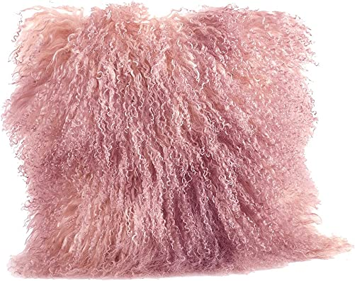 Occasion Gallery Rose Pink Color Real Mongolian Lamb Fur Pillow, Filled. 16 Inch Square