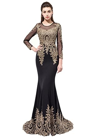 Annies Bridal Womens Mermaid Formal Evening Dress Long Sleeve Evening Prom Dresses 2017
