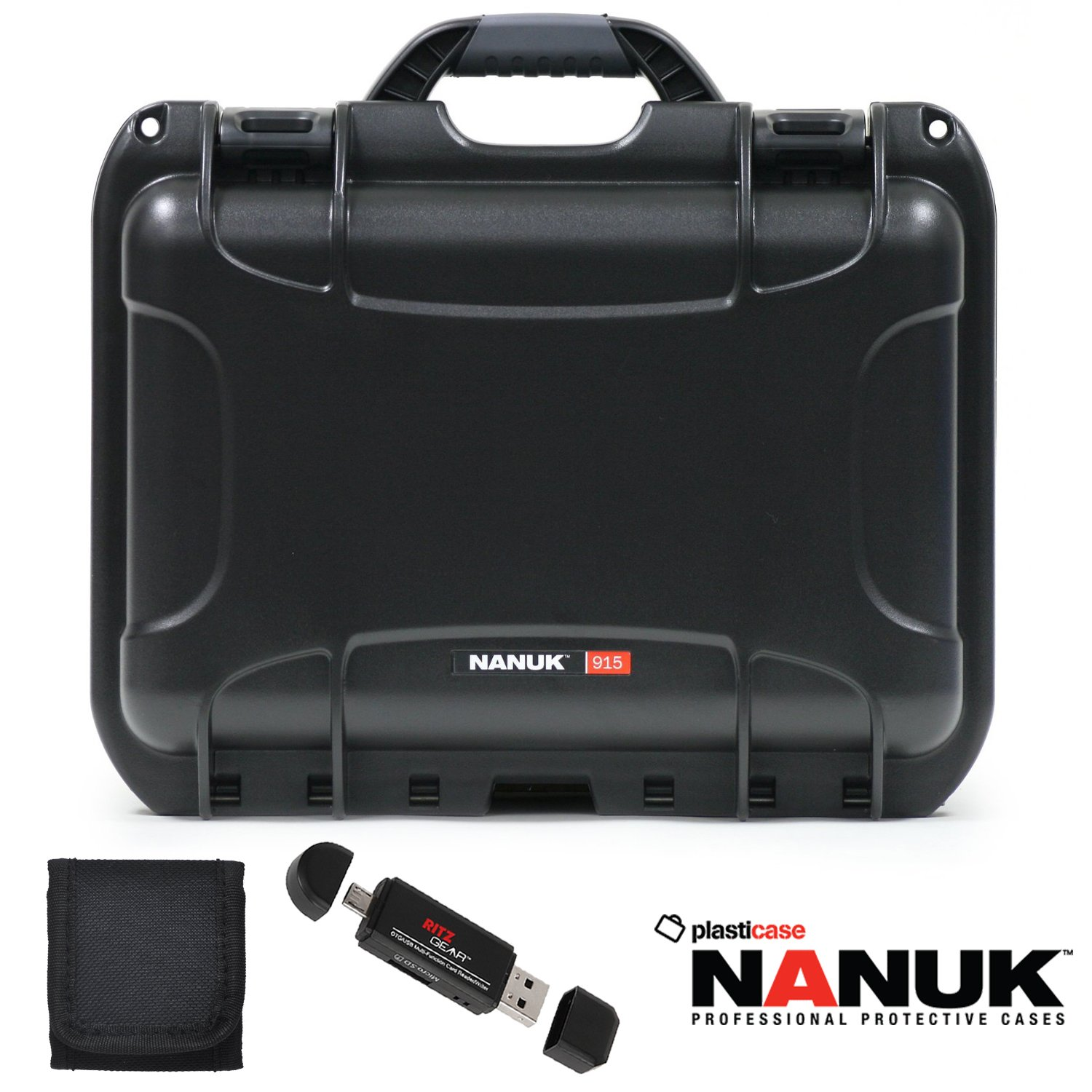 Nanuk 915 Hard Case with Cubed Foam Black, Memory Card Wallet and Ritz Gear Card Reader / Writer