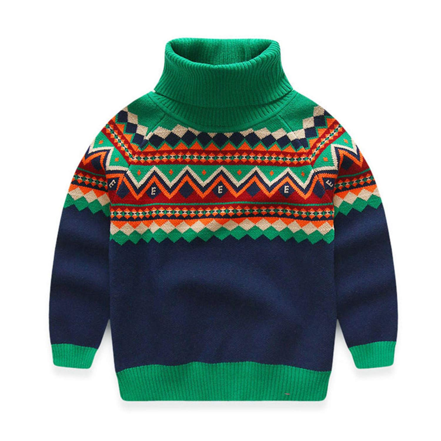 Huainsta Warm Color Block Thickening High Neck Knitted Kids Baby Boy Turtleneck Sweater