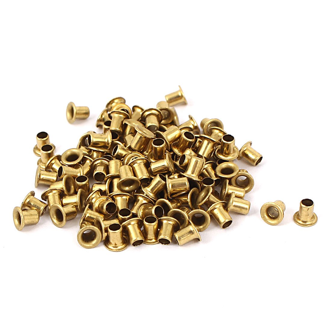 Uxcell a16032800ux0884 3mm x 4mm Double Sided Brass Plated Hollow Rivets Tool Gold Tone 100 Pcs