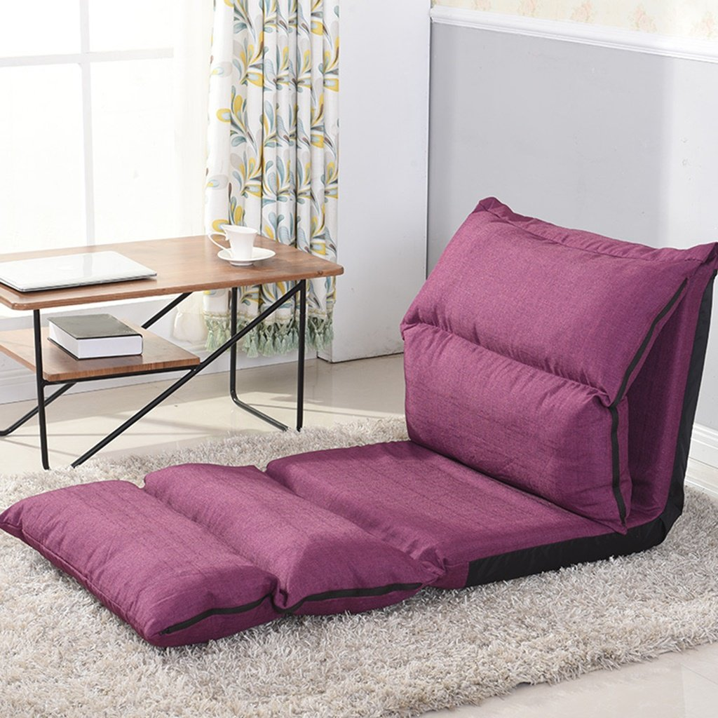 LI JING SHOP - Pliage paresseux canapé Salon Dossier chaise chambre Tissu canapé-lit individuel ( Couleur : Violet