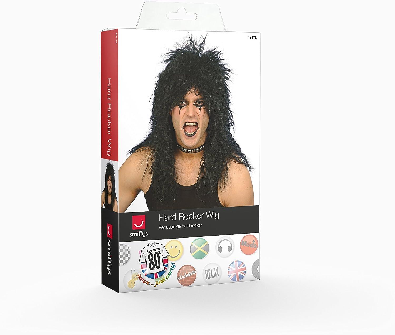 Hard Rocker Wig Long Tousled Adult Men/'s Fancy Dress Costume Accessory