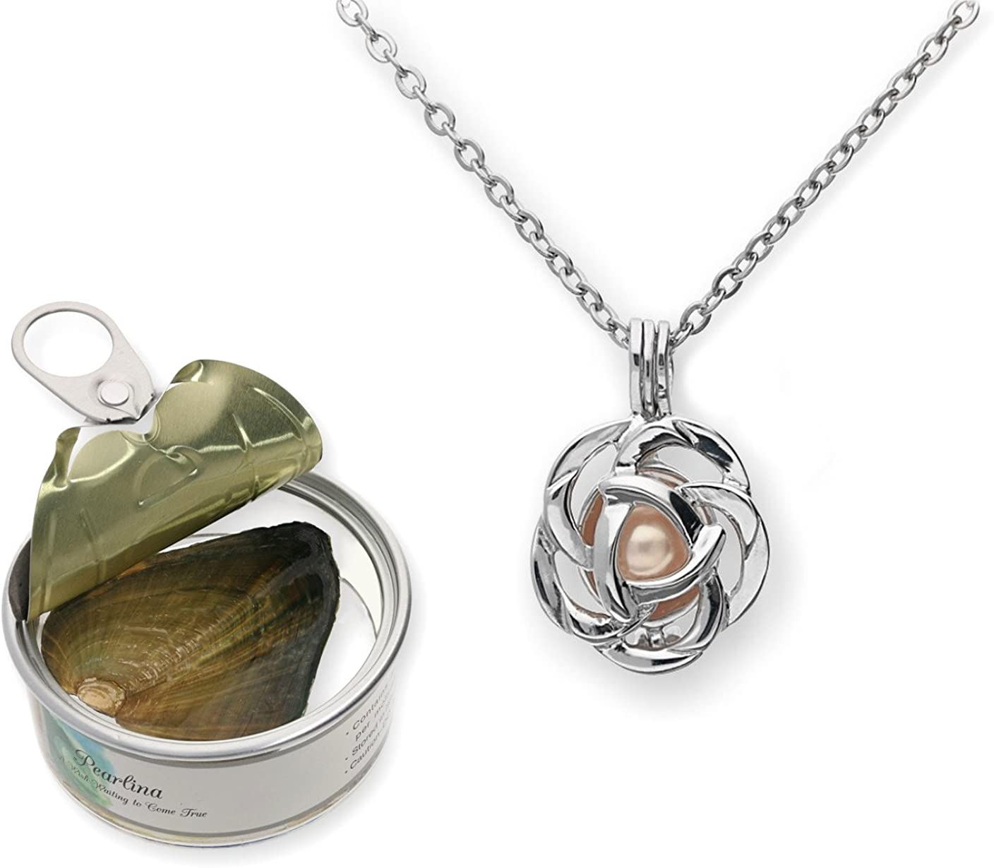 Pearlina Rose Flower Cultured Pearl Oyster Necklace Set Silver-tone Pendant w/ Stainless Steel Chain 18