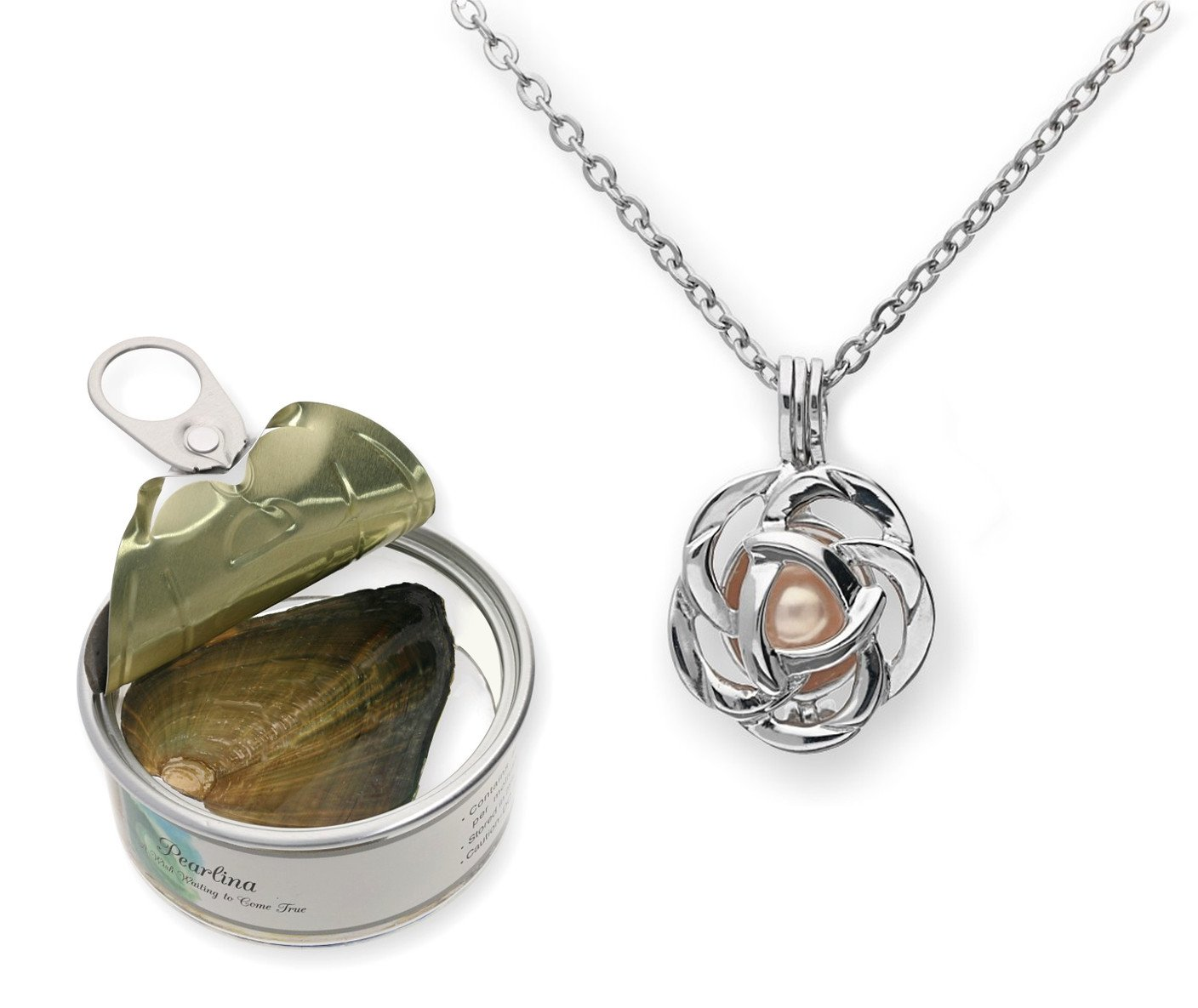 Pearlina Rose Flower Cultured Pearl Oyster Necklace Set Silver Plated Pendant w/Stainless Steel Chain 18'' by Pearlina