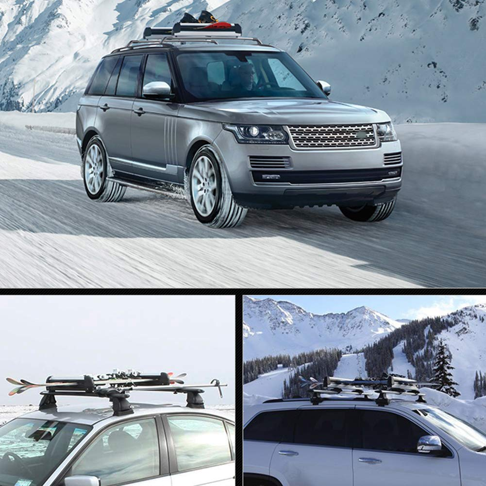 GOTOTOP Ski Roof Rack Can Transport 2 Skis and 4 Snowboards Lockable Ski Roof Rack Carrier Snowboard Top Holder