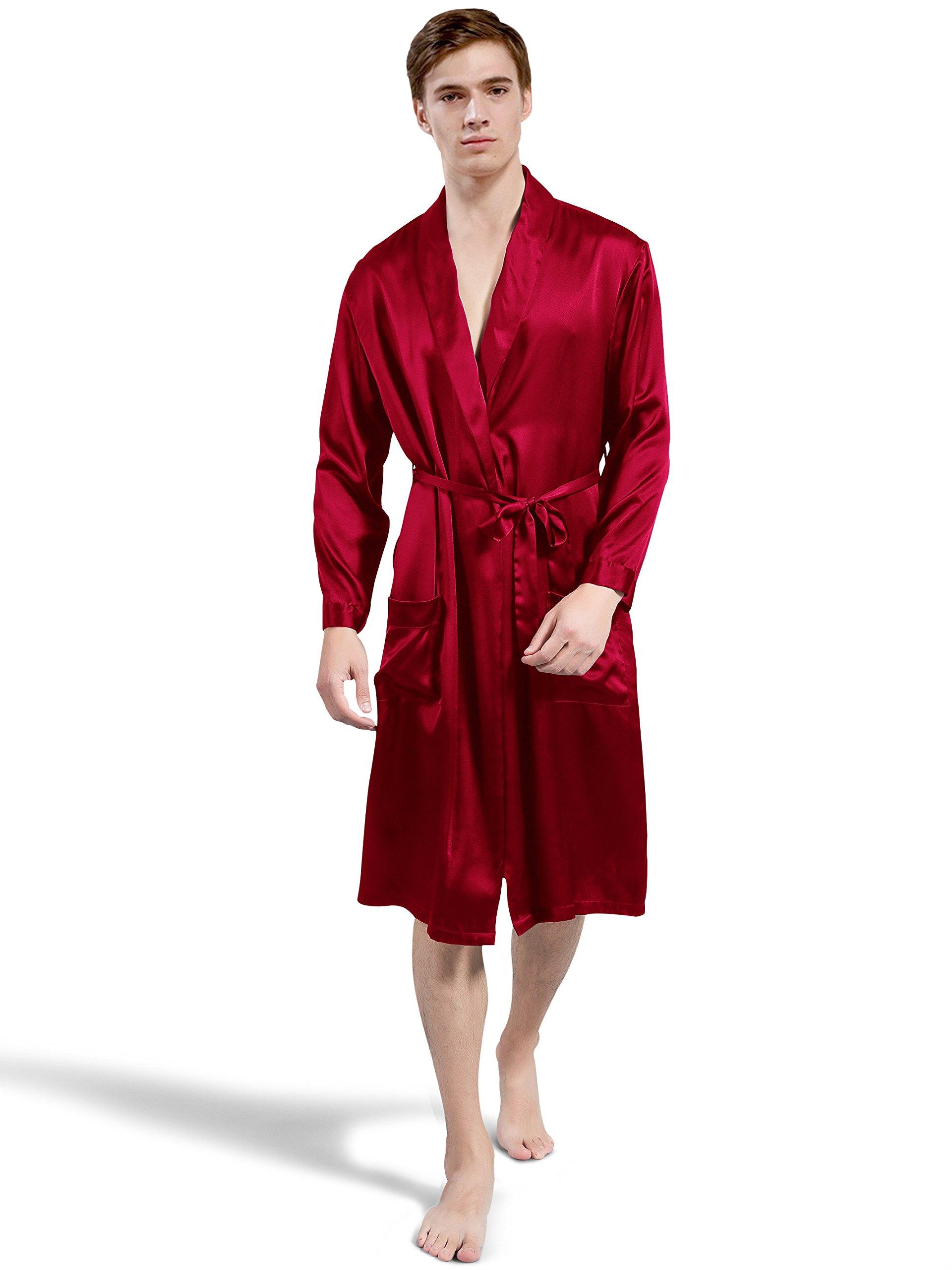 ElleSilk Men's Silk Robe, Silk Sleepwear For Men, 22 Momme 100% Mulberry Silk, Wine, L