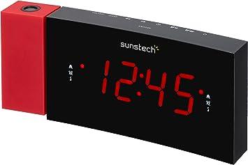 Sunstech FRDP3 - Radio despertador con proyector horario (USB de...