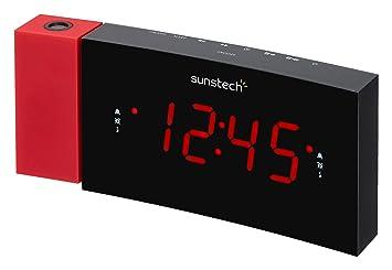 Sunstech FRDP3 - Radio Despertador con proyector horario (USB de Carga, función Sleep y Alarma Dual), Color Rojo