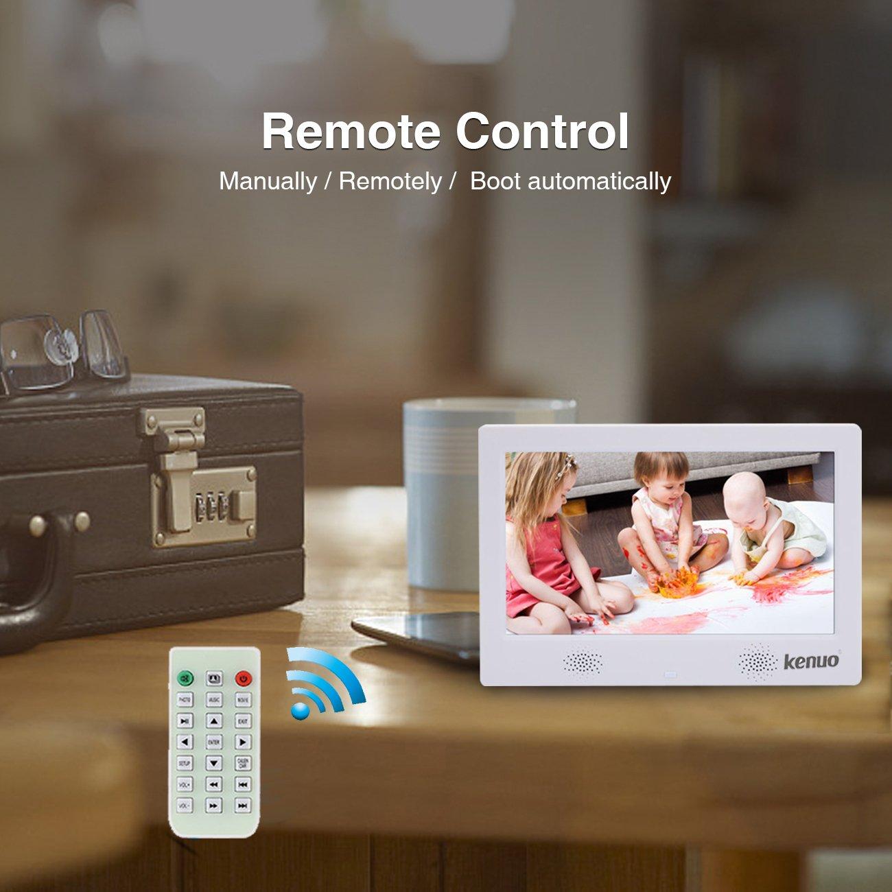 Marco de fotos digital 10.1 Pulgadas Pantalla IPS LED Marco Digital Multifuncional Resolución 1024X600 con Control Remoto Reloj Calendario Despertador de ...