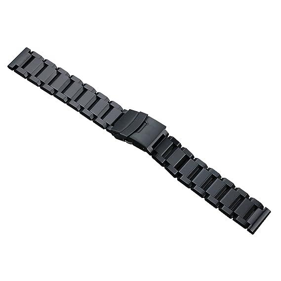 sólidas negras correas de reloj de acero inoxidable de 22 mm de lujo de los hombres de tipo pesado pestillo de seguridad estilo oyster cepillado mate: ...