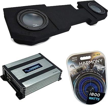 Compatible with 2002-2018 Dodge Ram Quad//Crew Truck Harmony Bundle R104 Single 10 Sub Box /& HA-A400.1