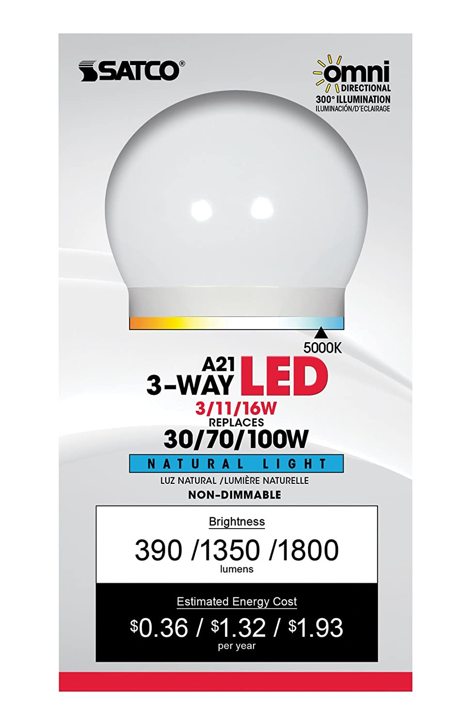 Satco S9373 A21 LED 3-Way Frosted 5000K Medium Double Contact Base Light Bulb with 300 Beam Spread, 3W/11W/16W - - Amazon.com