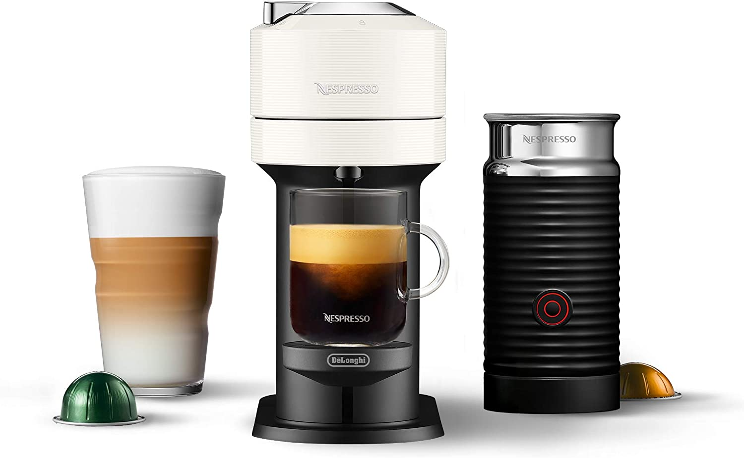 Nespresso by De'Longhi ENV120WAE Vertuo Next Coffee and Espresso Maker, with Aeroccino Milk Frother, White