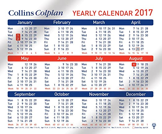 Collins Colplan  Yearly Calendar AmazonCoUk Office Products