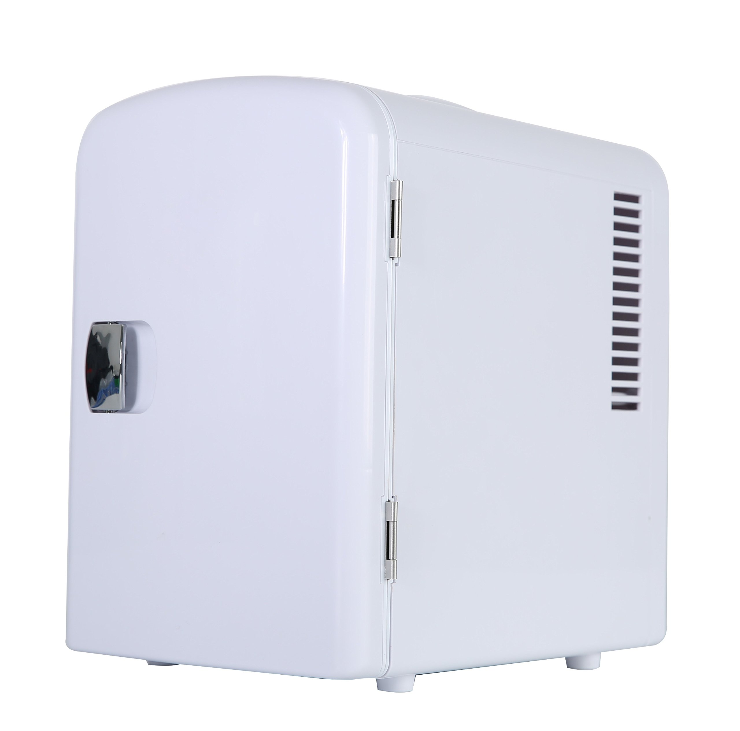Portable 6 Can Mini Fridge Cooler - Home,Office, Car or Boat - AC & DC - White - 110/120V