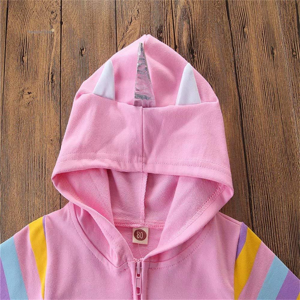 Toddler Baby Girl Unicorn Shape Hoodies Unicorn Wings Graphic Print Hooded Sweatshirt with 3D Horn