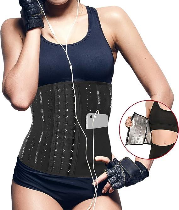 JCH Women Waist Trainer Corset Zipper Hourglass Body Weight Loss Wedding Dress Slim Plus Size Corset Sweat Training and Sauna Adjustable Straps