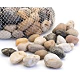 Royal Imports 5lb Large Decorative Ornamental River Pebbles Rocks Fresh Water Fish Animal Plant Aquariums, Landscaping, Home Decor etc Netted Bag, Natural