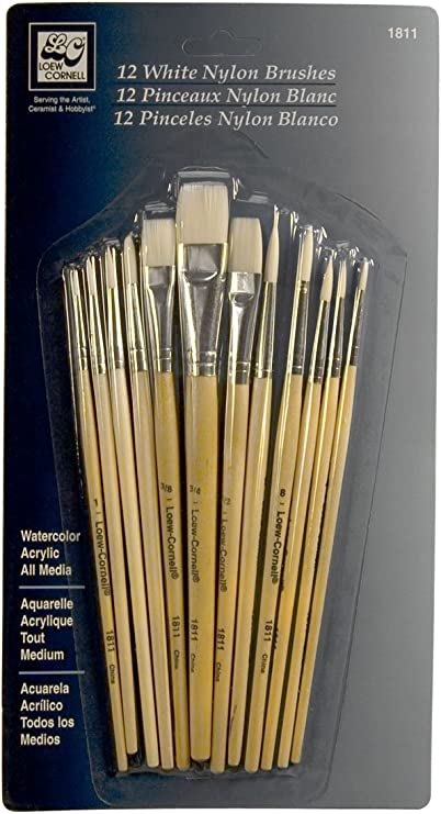 White Taklon Loew Cornell 1809 12-Piece Brush Set