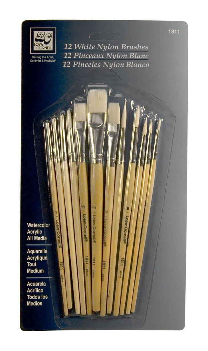 Loew-Cornell Nylon Brush Set, White, 12-Piece