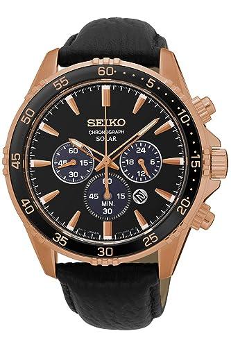 Seiko Solar Reloj para Hombre Analógico de Solar con Brazalete de Piel de Vaca SSC448P1: Amazon.es: Relojes