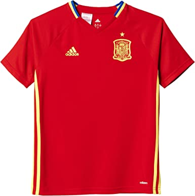 adidas Federación Española de Fútbol Euro 2016 - Camiseta de Entrenamiento para niño, Color Rojo/Amarillo, Talla 176: Amazon.es: Zapatos y complementos