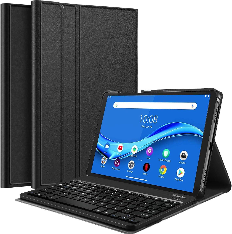 IVSO Funda con Teclado Español Ñ para Lenovo Tab M10 FHD Plus TB-X606F 10,3 Pulgadas, Slim Stand Funda con Removible Wireless Teclado con Ñ, Negro