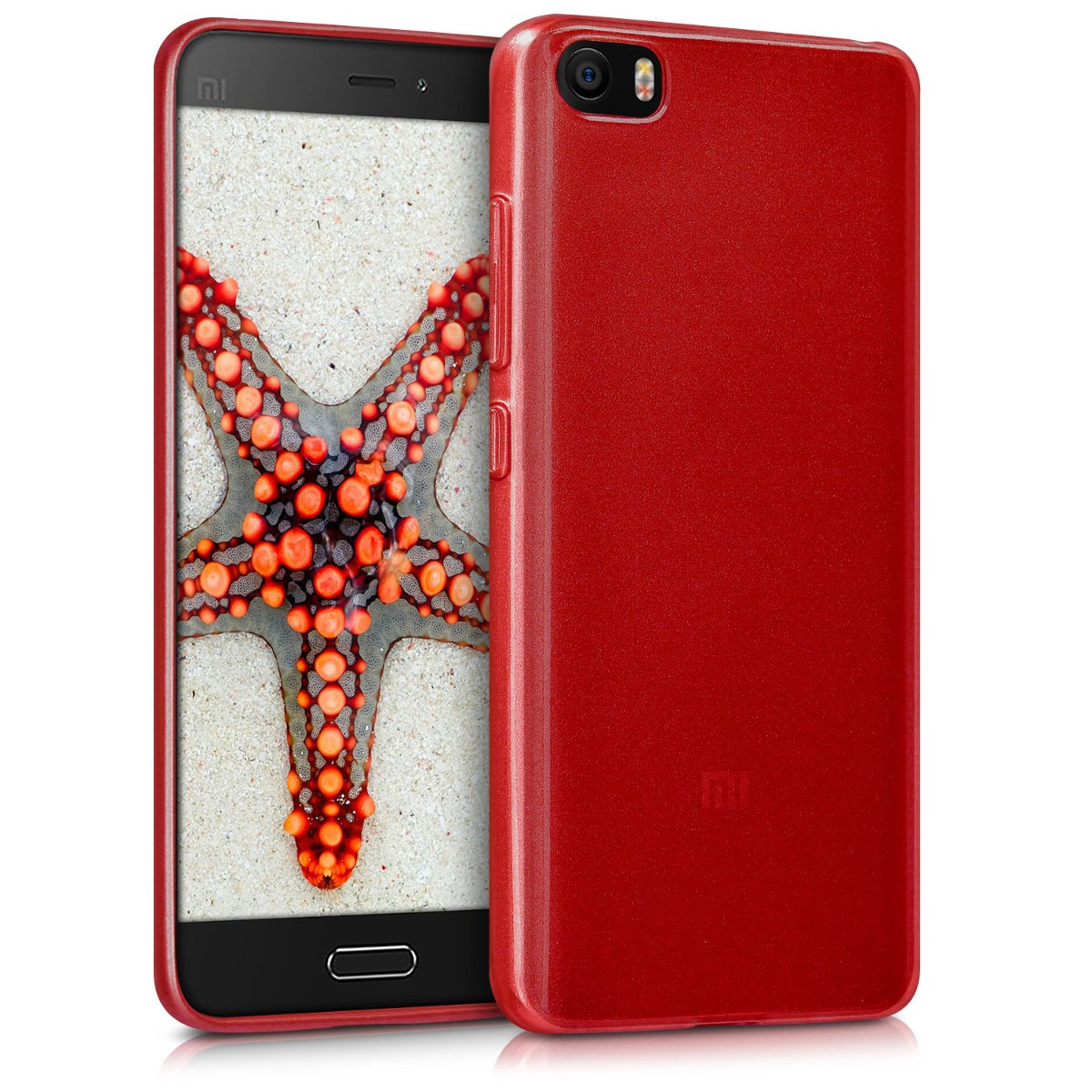 kwmobile Funda para Xiaomi MI5 - Carcasa para móvil en [TPU Silicona] - Protector [Trasero] en [Rojo Brillante]