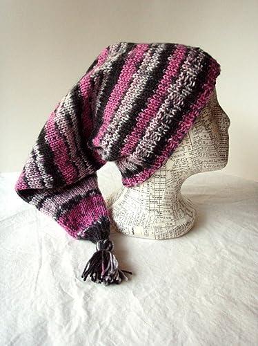 af465280085 Amazon.com  Pink   Grey Striped Stocking Cap Knit Elf Hat Size Large ...