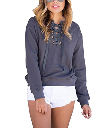 Oops Style Womens Lace Up Front Long Sleeve Sweatshirt Pullover ...