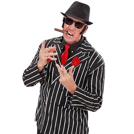 NET TOYS Costumi da gangster per Carnevale - Accessori anni 20 - Cappello  nero gessato in 1ef71ae6f025