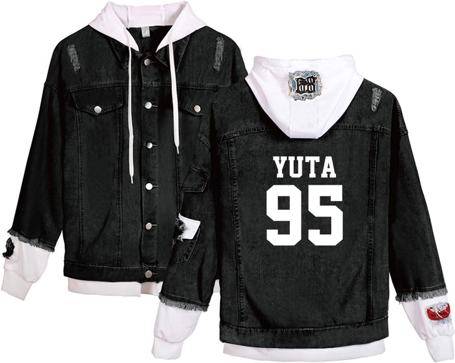 CHAIRAY Kpop NCT 127 Hoodie Jacket Mark Yuta Jungwoo Johnny Hip Hop Denim Sweatshirt Patchwork Sweater Coat