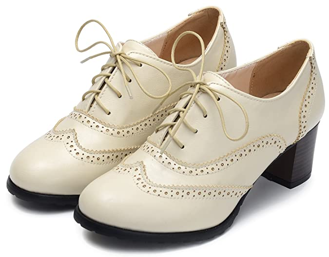 Vintage Shoes, Vintage Style Shoes Odema Womens PU Leather Oxfords Brogue Wingtip Lace up Chunky High Heel Shoes Dress Pumps Oxfords $29.99 AT vintagedancer.com