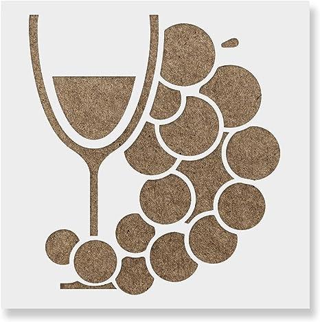 Wine Glas And Grapes Stencil