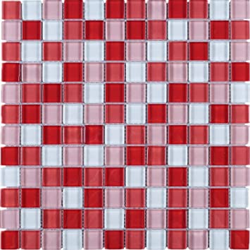 Tgemg 07 1x1 Square Red Glass Mosaic Tile Sheet Kitchen And