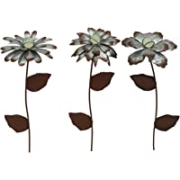 CEDAR HOME Galvanized Floral Garden Stake Outdoor Glow in Dark Plant Pick Water Proof Metal Stick Art Ornament Decor for…