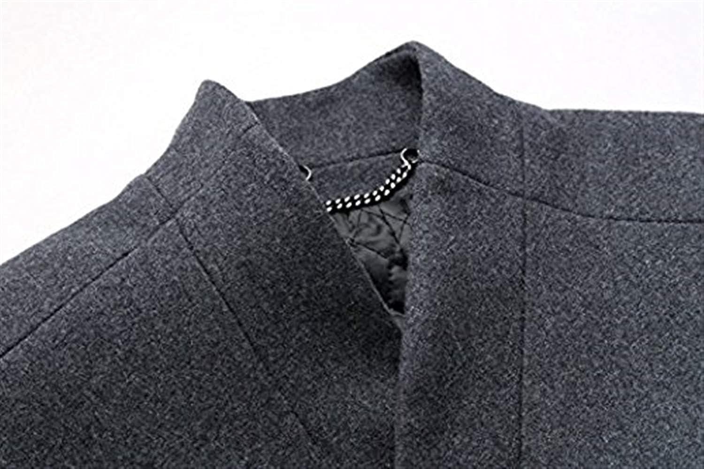 Hommes Automne Élégant Long Manteau De Slim Veste Loisirs Laine Trench-Coat d'hiver Business Parka Coupe-Vent Solide Couleurs Grau2