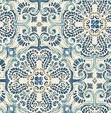 NuWallpaper NU2235 Florentine Tile Peel and Stick Wallpaper, Blue