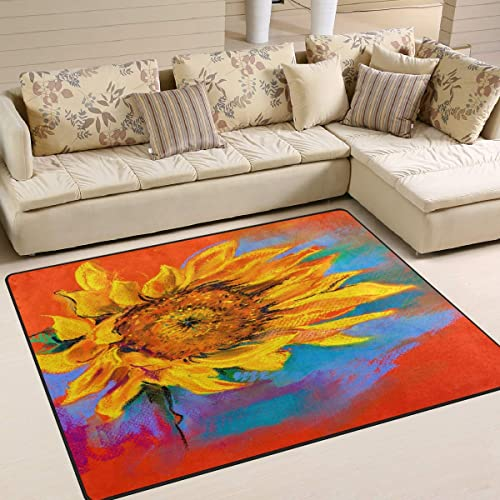 ALAZA Oil Painting Sunflower Artwork Area Rug Rug