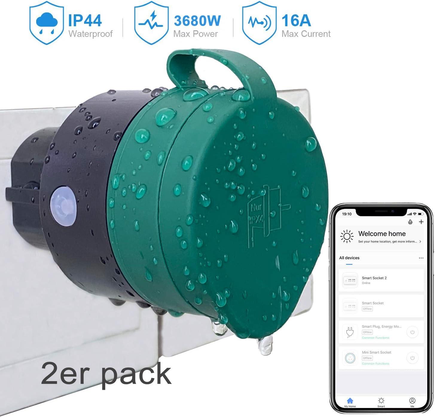 2er Pack UCOMEN Outdoor Sockets WLAN Smart Steckdose WiFi Stecker Smart Plug Funktioniert mit  Alexa und Google Home