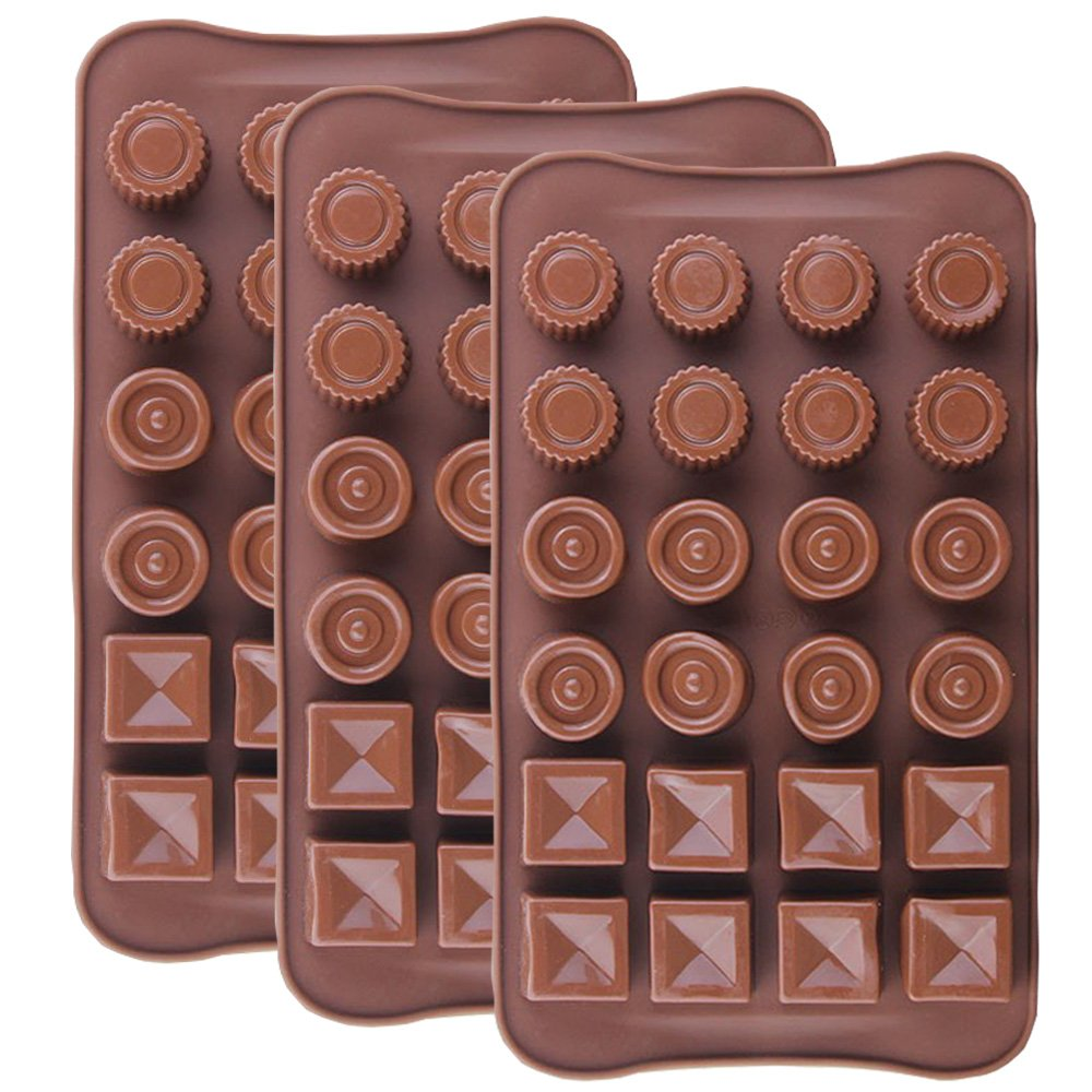 IHUIXINHE Silicone Chocolate Mold, Food Grade Non-Stick Kitchen Baking Trays, Candy Molds For Cake Decoration, Ice Cube (24-cavity)