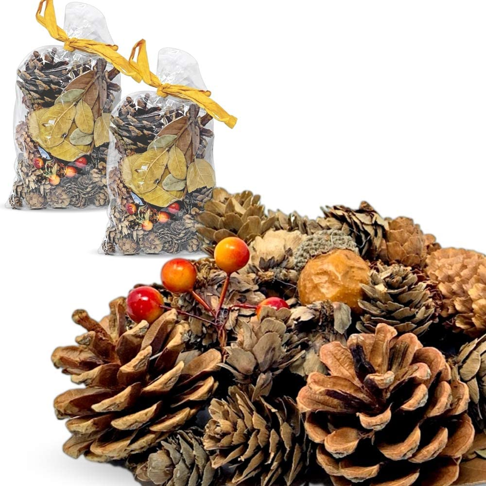 Pinecones and Fall Leaves - 2 Bags of Pine Cones, Leaves, Acorn, Orange Berries Unscented- Perfect for Potpourri Vase Bowl Filler or Crafting- Farmhouse Autumn Christmas Home Decoration