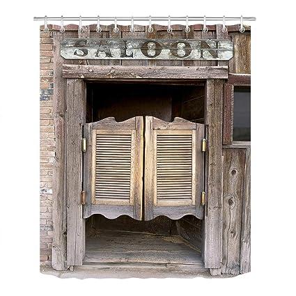LB Rustic West Saloon Stall Shower Curtain Set Vintage Retro Cowboy Western Country Farm Bathroom