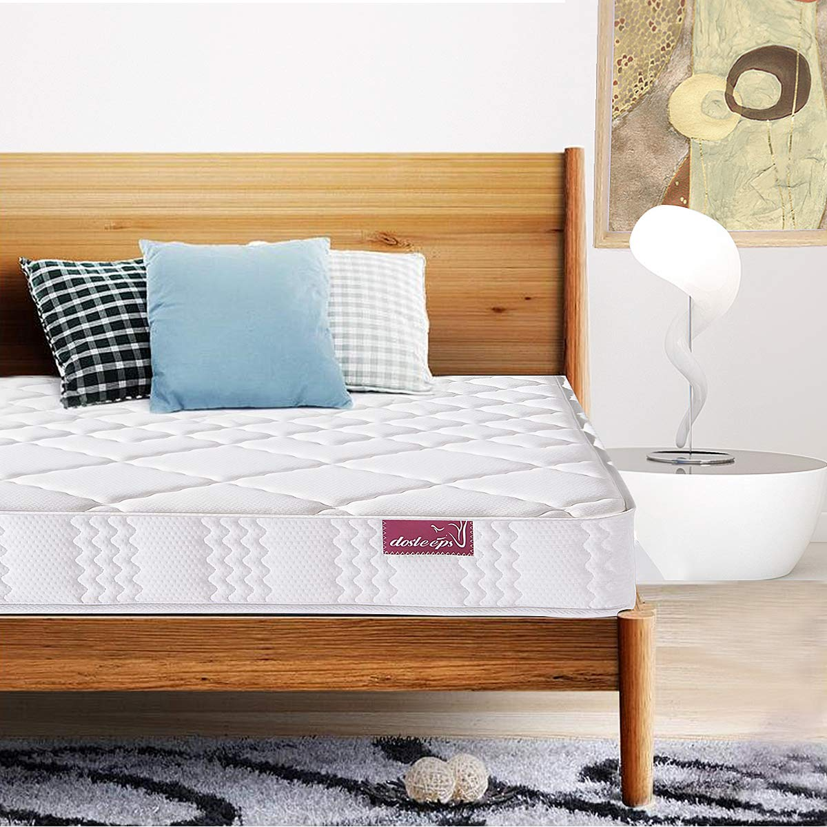 DOSLEEPS Super Comfort Hybrid Innerspring Mattress Set with 3D Knitted Dual-Layered Breathable Cover-7''-Certified by CertiPUR-US-100 Night Trial ... (Twin)
