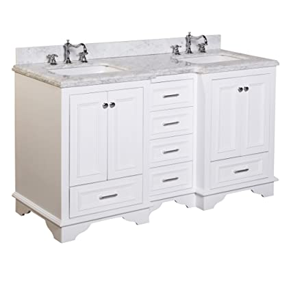 Kitchen Bath Collection KBC1260WTCARR Nantucket Double Sink Bathroom Vanity  With Marble Countertop, Cabinet With Soft