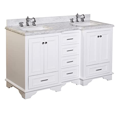Kitchen Bath Collection KBC1260WTCARR Nantucket Double Sink Bathroom Vanity  With Marble Countertop, Cabinet With Soft Close Function And Undermount  Ceramic ...